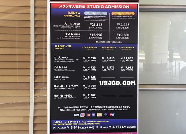 USJ スタジオ入場料金